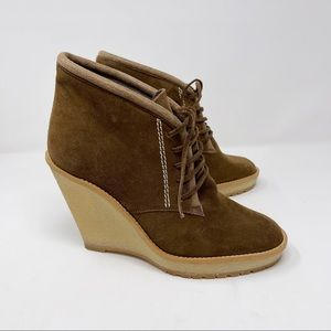 Zara Suede Lace Up Wedge Ankle Booties Brown Tan 9
